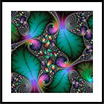 Floral Fractal Art with jewel colors Framed Print