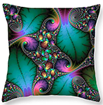 Floral Fractal with jewel colors Throw Pillow