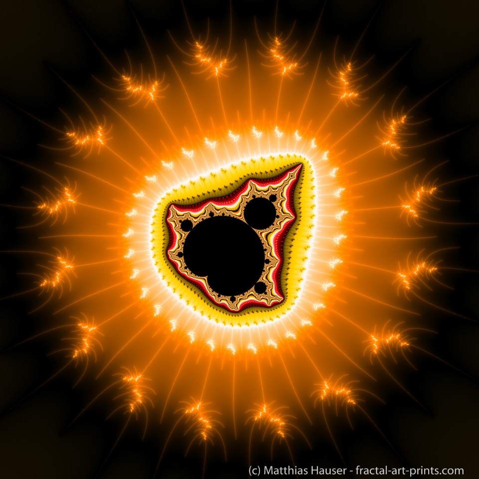 Fractal Art Orange and black Mandelbrot Set