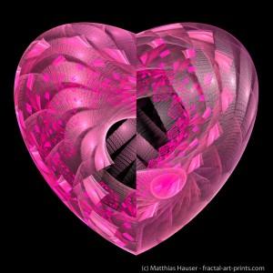 Pink Fractal Heart on black