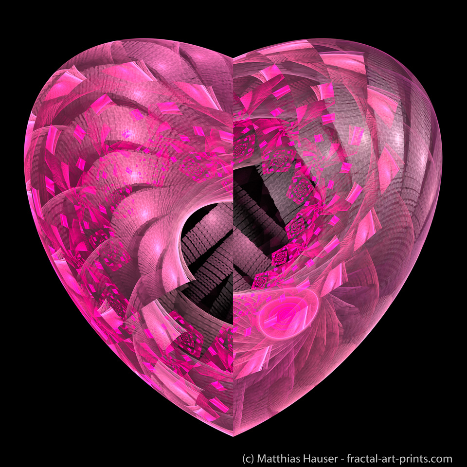 Pink Fractal Heart on black