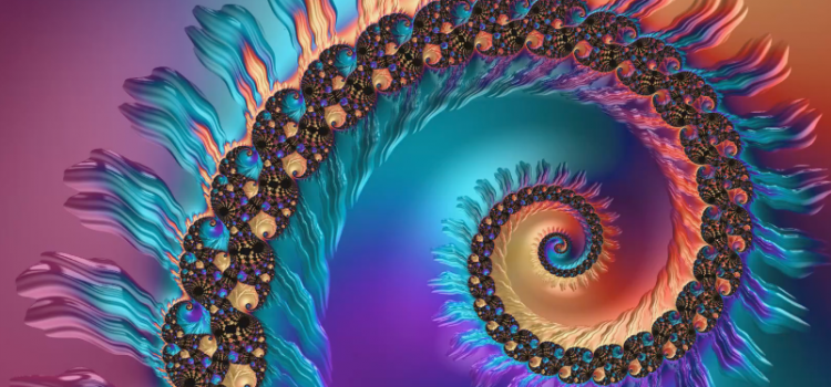 Fractal video art spiral with changing colors
