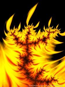 Orange flame burning - Fractal Art