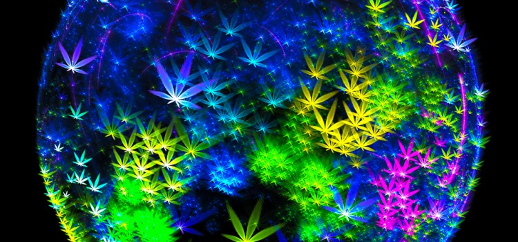 Weed planet - Trippy Fractal Art with Cannabis symbols