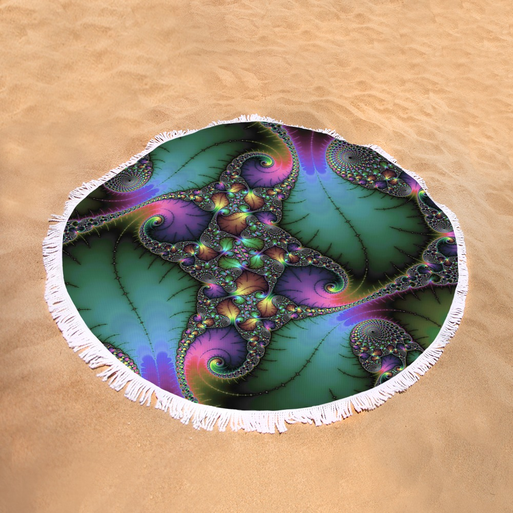 Jewel colored fractal round beach towel