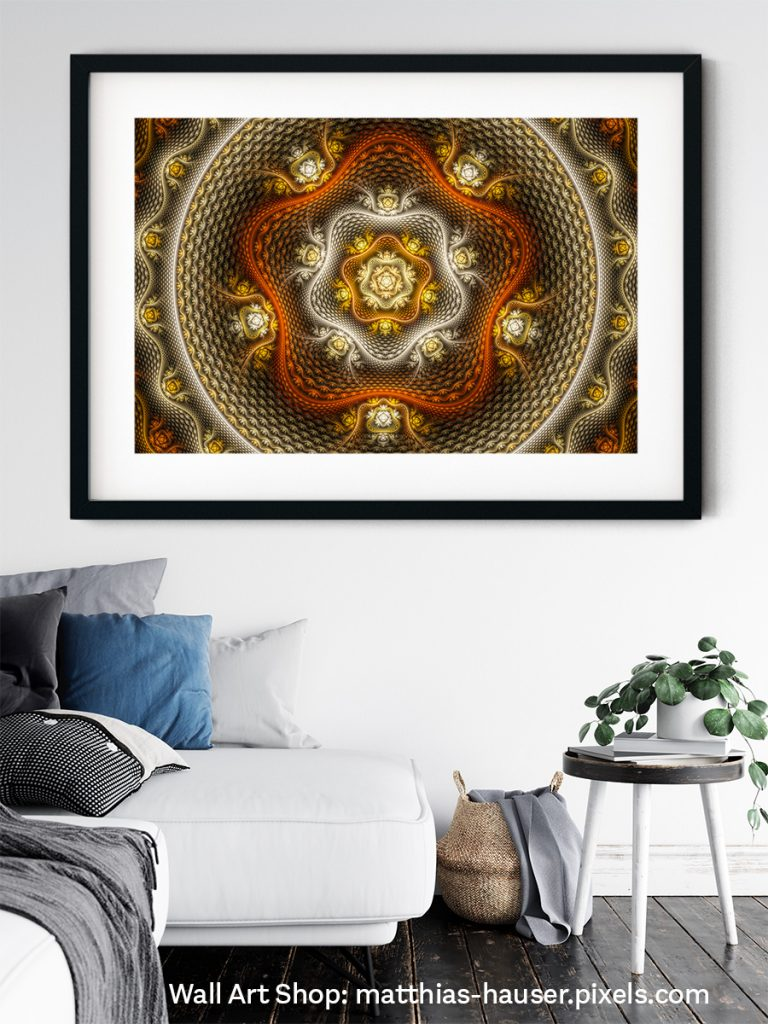 Snakeskin Fractal with warm tones on the wall of a living room