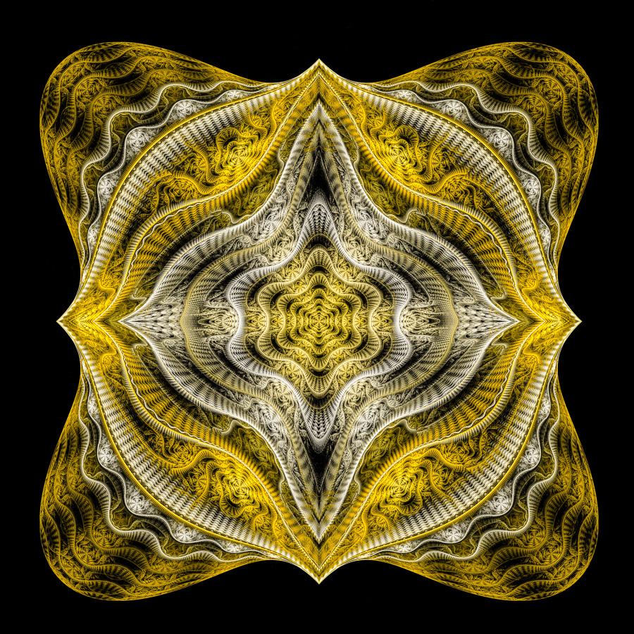 Fractal Art Mandala style golden and white