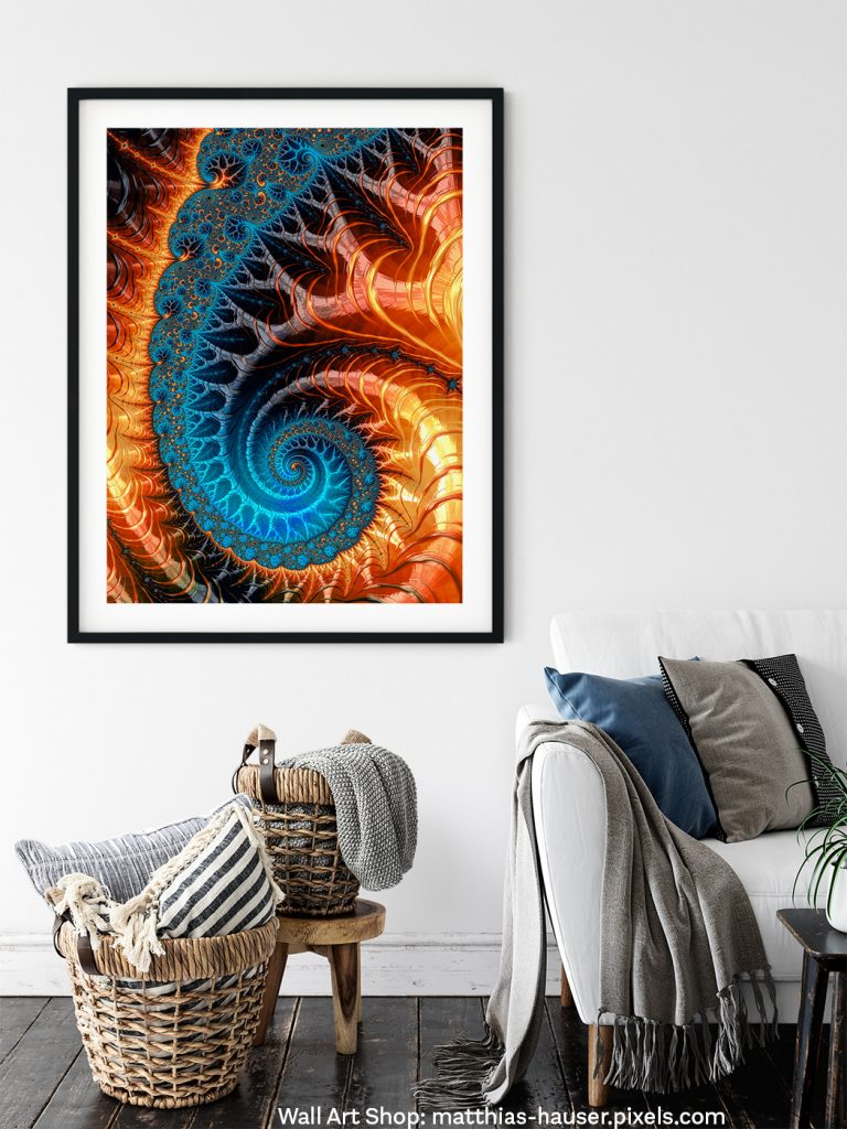 Fractal Art Fire in the sky Spiral hanging on the wall of a Living Room