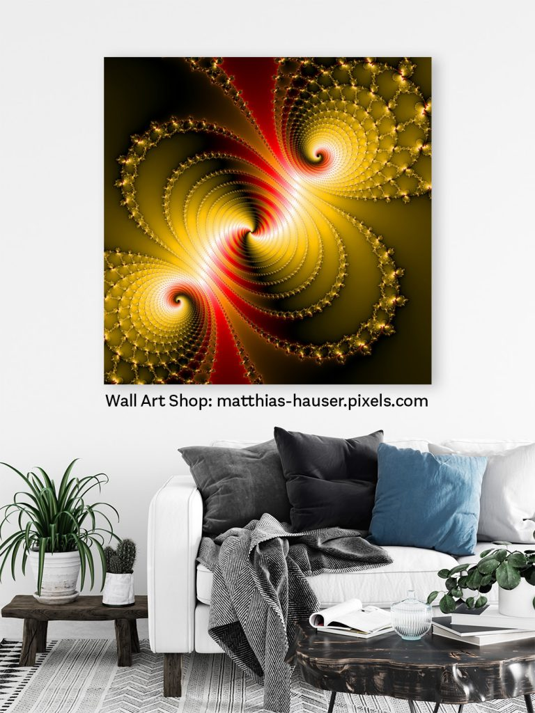 Red and yellow Fractal Art Print in a Living Room
