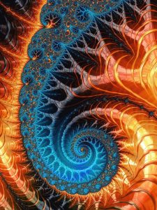 Fractal Spiral orange and blue