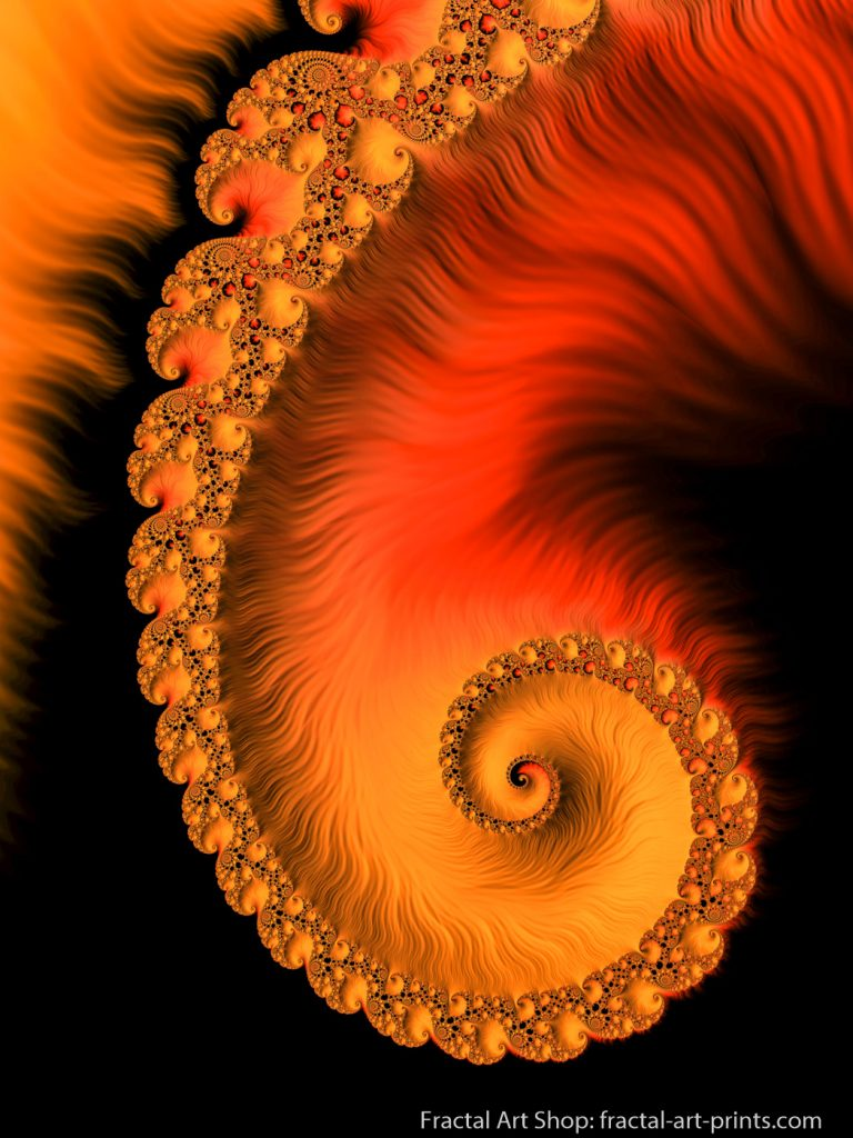 Fractal Spiral orange red black